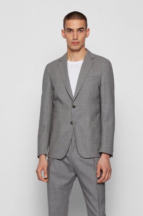 Slim-fit jacket in melange virgin wool, Silver