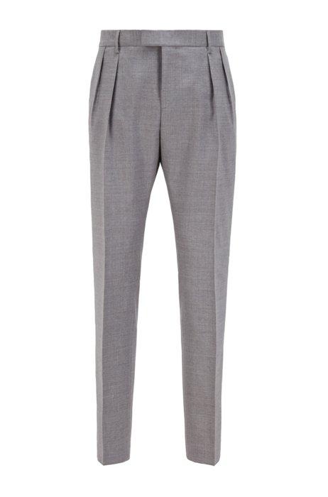 Extra-slim-fit pants in melange virgin wool, Silver