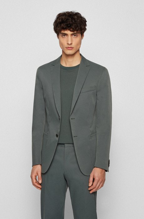 Slim-fit jacket in smooth fabric with partial lining, Dark Green