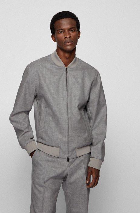 Zip-up slim-fit jacket in melange virgin wool, Silver