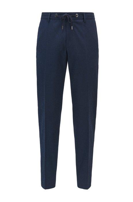 Slim-fit pants in cotton-blend seersucker, Dark Blue