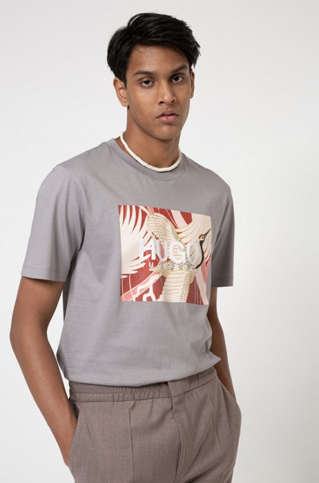 Cotton-jersey T-shirt with Japanese-crane print, Silver