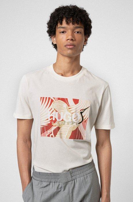 Cotton-jersey T-shirt with Japanese-crane print, White