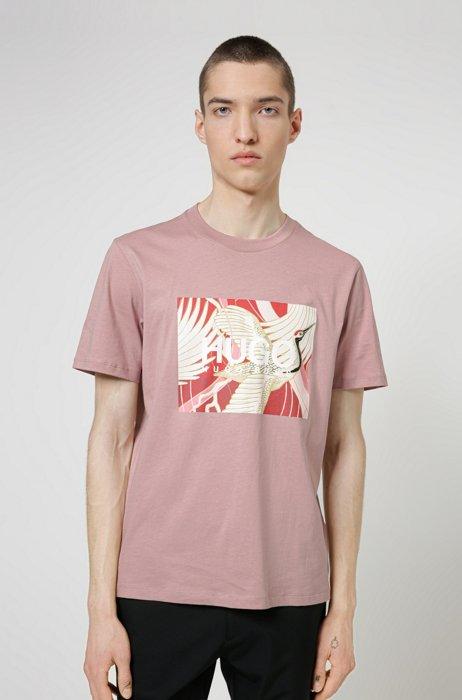 Cotton-jersey T-shirt with Japanese-crane print, Light Brown