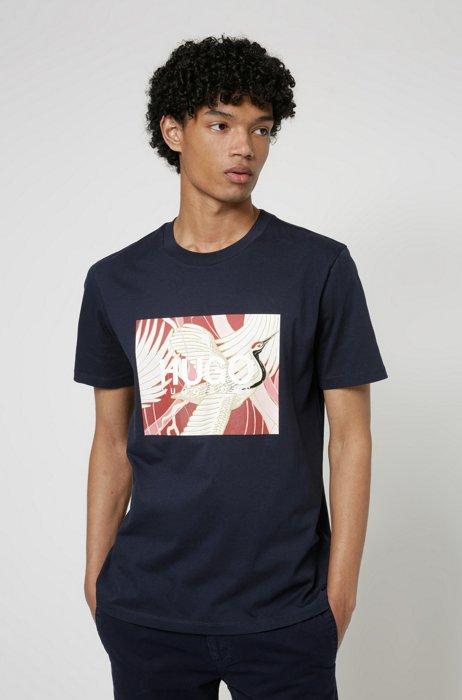 Cotton-jersey T-shirt with Japanese-crane print, Dark Blue