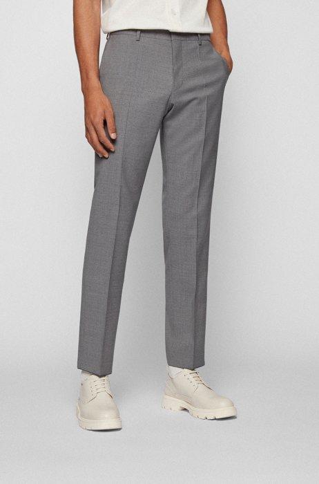 Slim-fit pants in patterned virgin wool, Silver