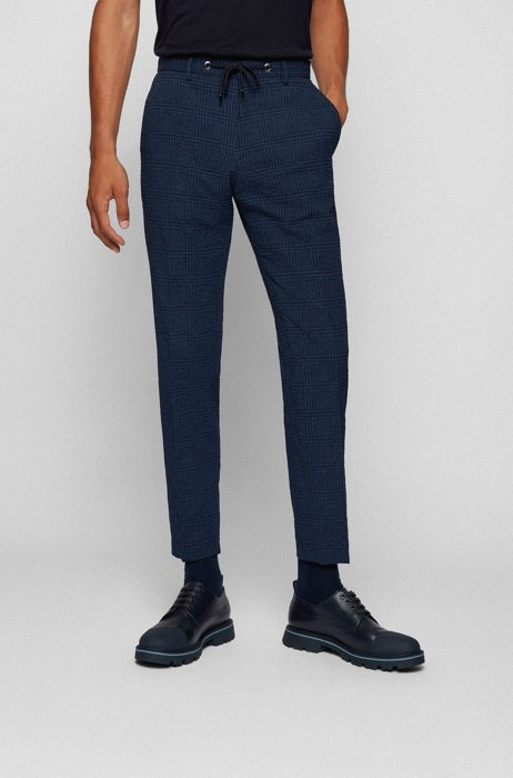 Slim-fit pants in checked fabric, Blue