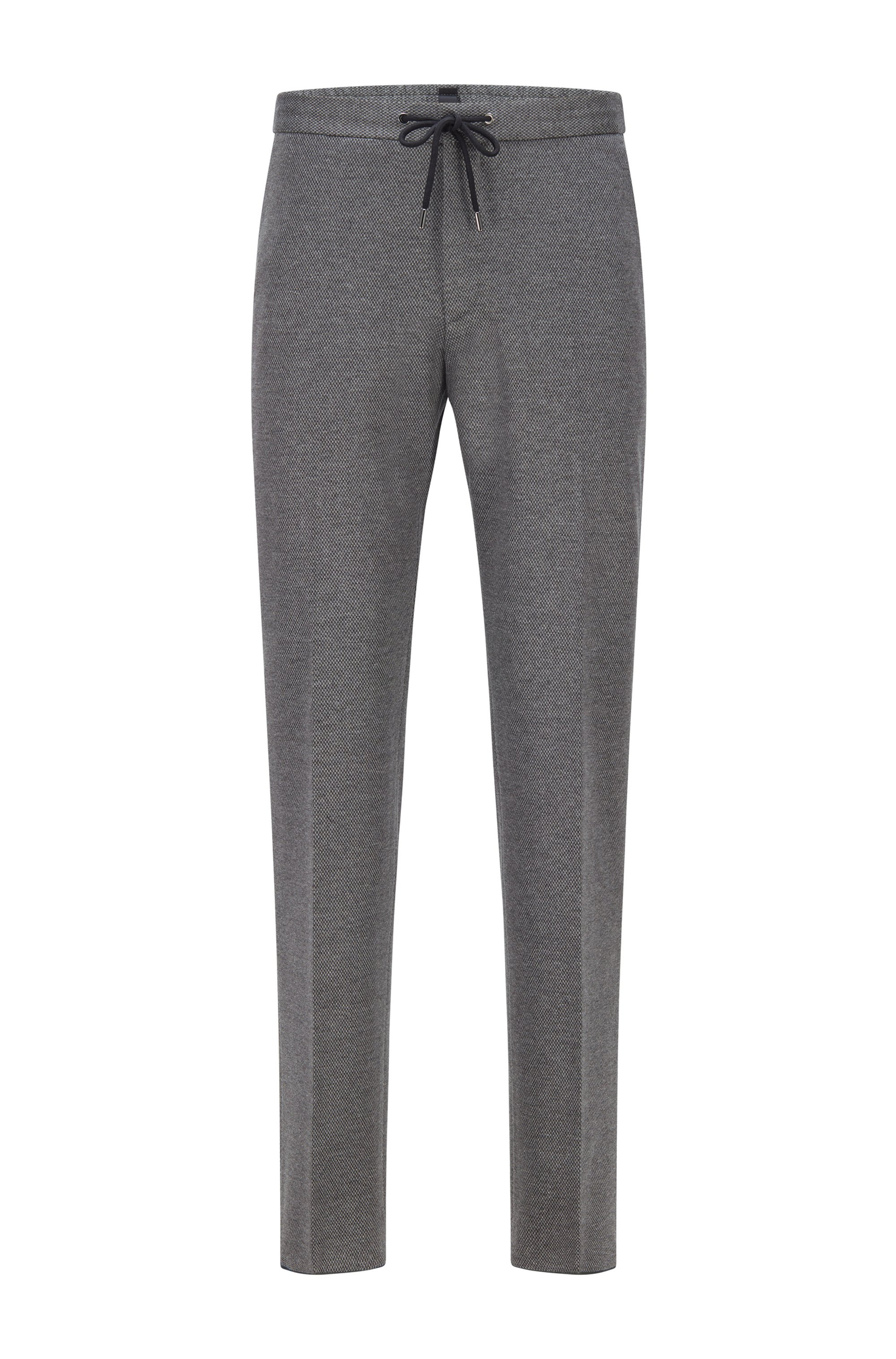 Slim-fit pants in micro-patterned fabric, Silver