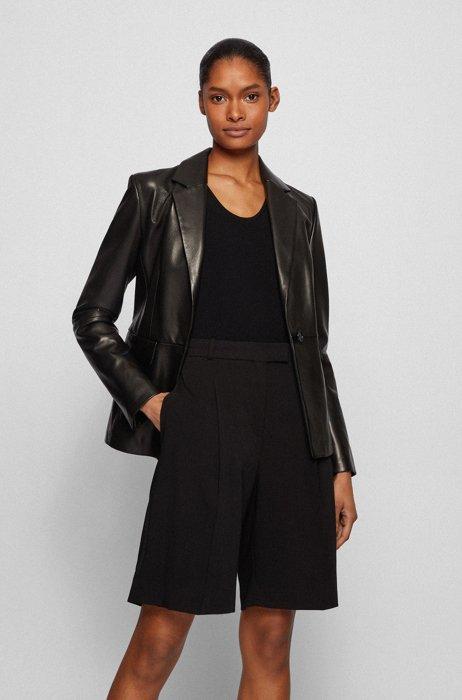 Regular-fit jacket in plongé lamb leather, Black