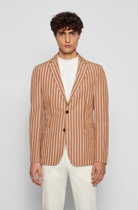 Striped slim-fit jacket in cotton and linen, Beige