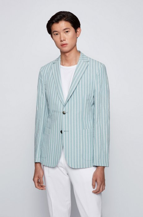 Striped slim-fit jacket in cotton and linen, Light Blue