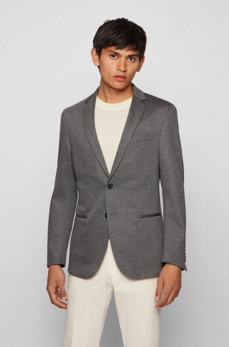 Slim-fit jacket in micro-patterned stretch jersey, Silver