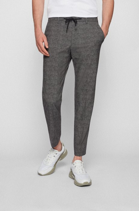 Slim-fit pants in micro-patterned jersey, Silver