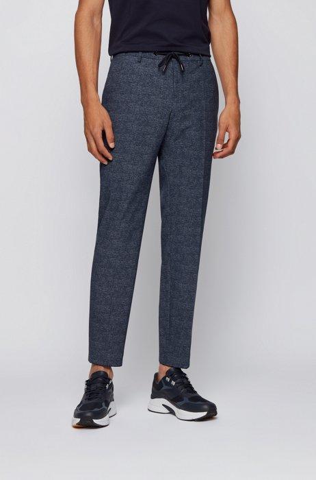 Slim-fit pants in micro-patterned jersey, Dark Blue