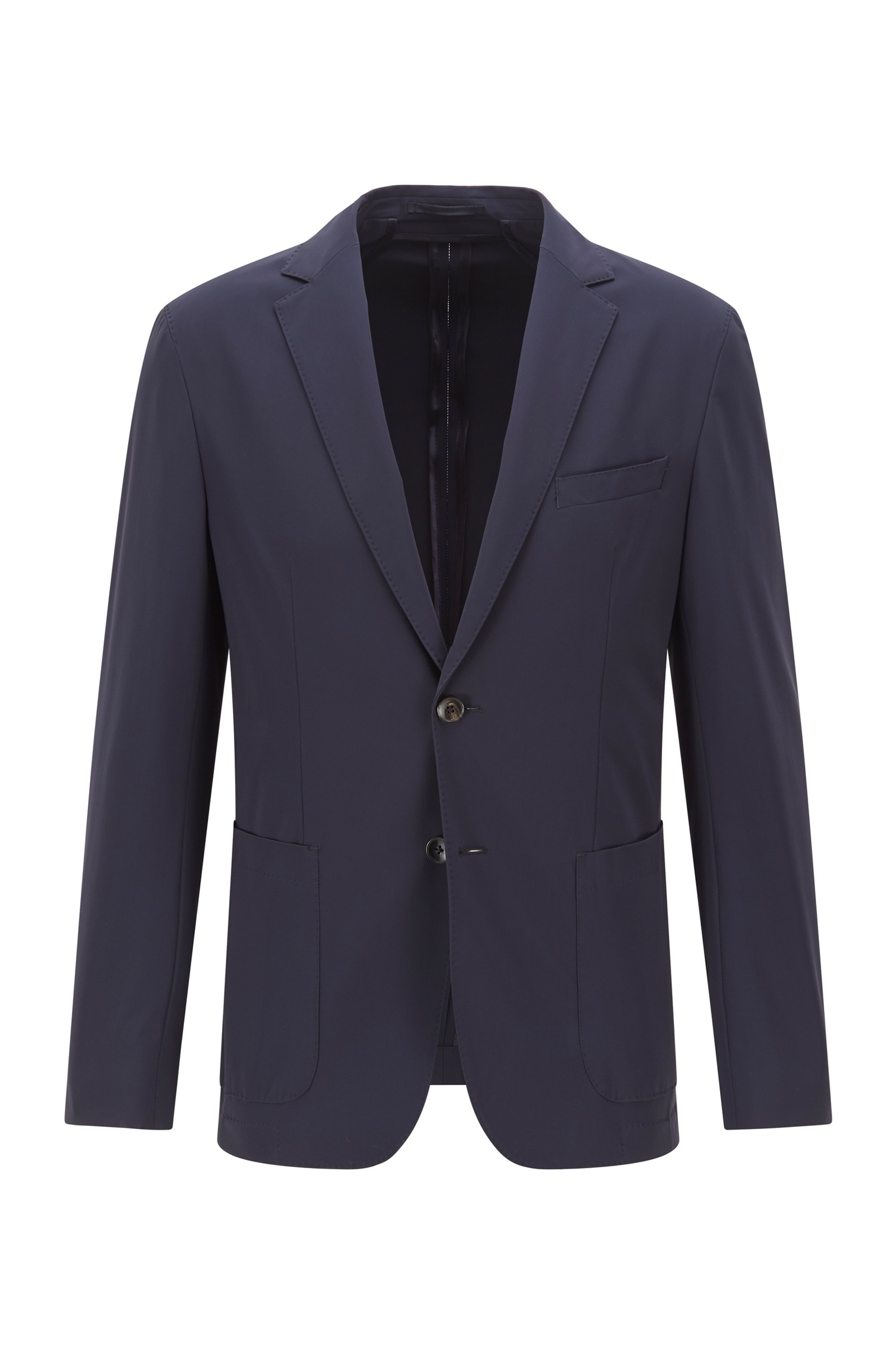 Slim-fit jacket in stretch fabric, Dark Blue