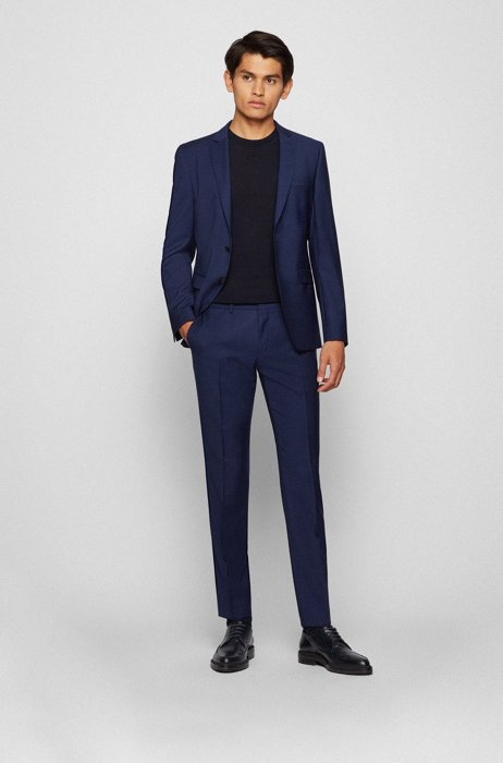 Extra-slim-fit suit in patterned virgin wool, Blue