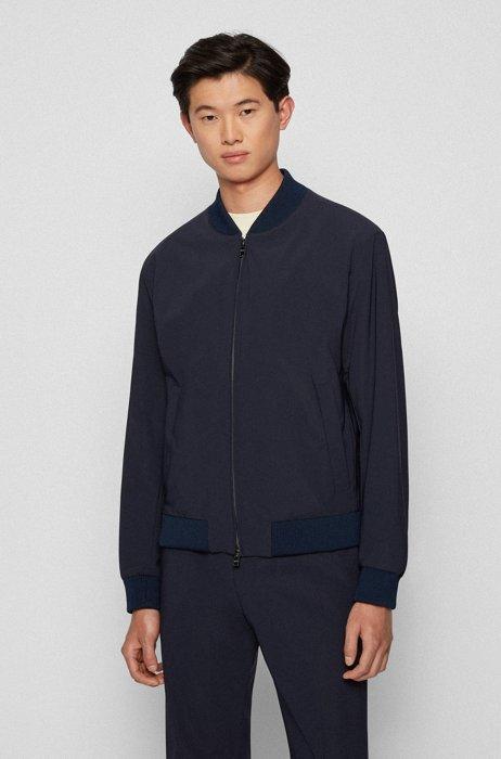 Slim-fit jacket in stretch cloth with front zip, Dark Blue