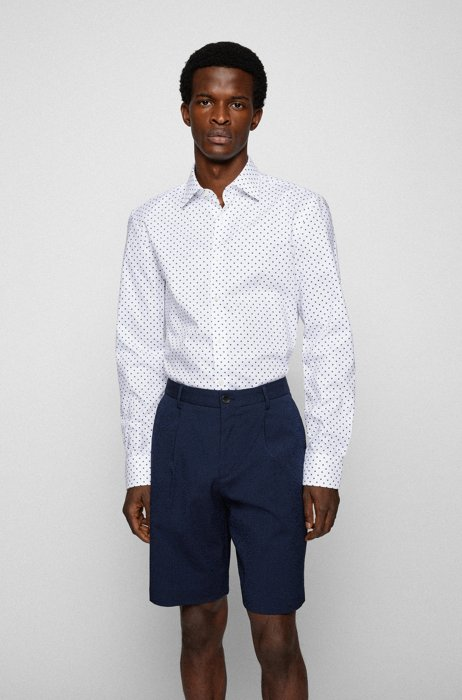 Slim-fit shirt in geometric-print organic cotton, White