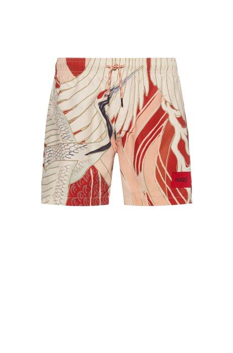 Short de bain en tissu recyclé à séchage rapide, avec motif, Rouge clair