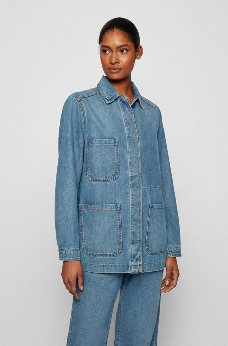 Long-length relaxed-fit jacket in blue comfort-stretch denim, Blue