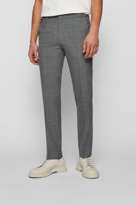 Slim-fit pants in checkered virgin wool, Turquoise