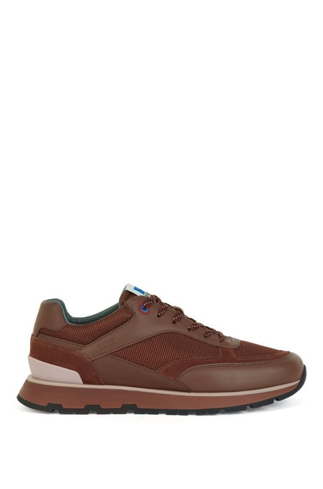 Running-inspired trainers in mixed materials with exclusive logo, Light Brown