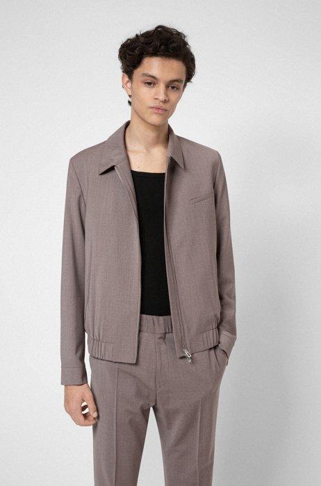 Zip-up slim-fit jacket in a virgin-wool blend, Light Brown