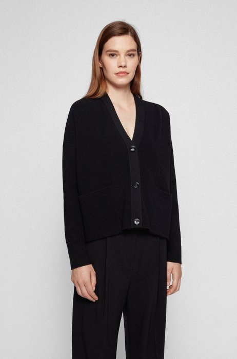 Relaxed-fit V-neck cardigan in cotton and silk, Black