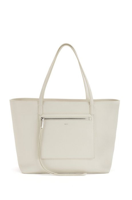 Grained-leather shopper bag with logo, White