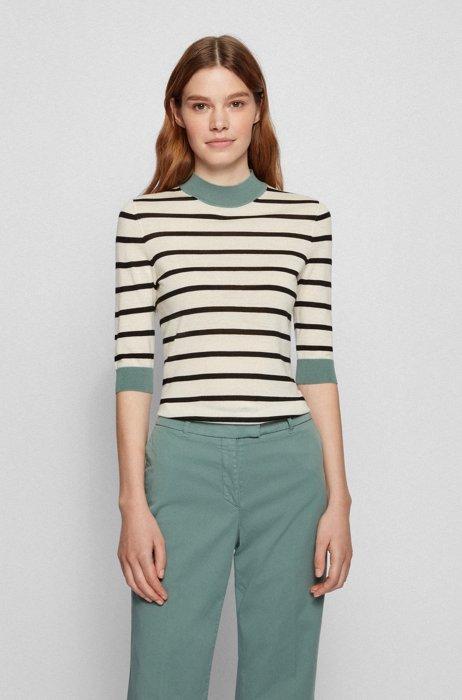 Striped slim-fit sweater in virgin wool with mock neckline, Patterned
