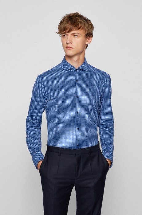 Slim-fit shirt in printed Italian performance-stretch jersey, Blue
