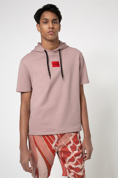 Short-sleeved hoodie in French terry with logo patch, Light Brown