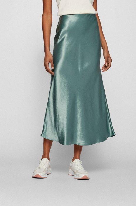A-line midi skirt in satin with high-rise waistband, Light Green