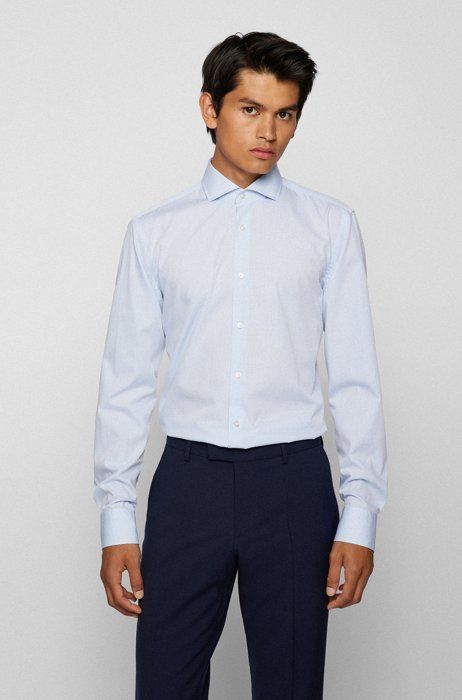 Slim-fit shirt in checked cotton-blend dobby, Light Blue