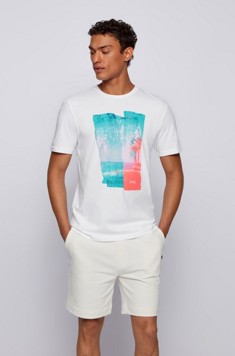 Crew-neck T-shirt in cotton jersey with photographic print, White