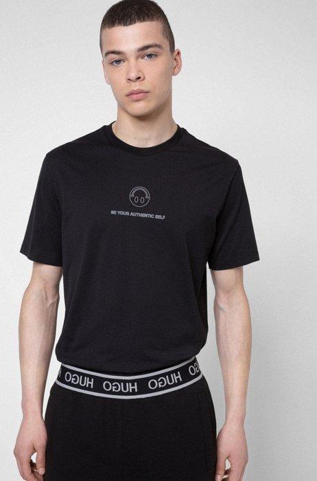 HUGO x Smiley® Cotton-jersey T-shirt , Black