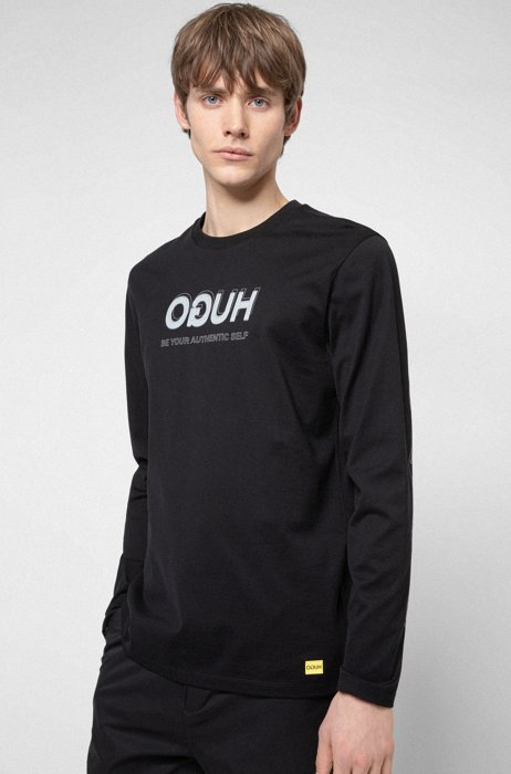 HUGO x Smiley® reversed-logo cotton T-shirt , Black