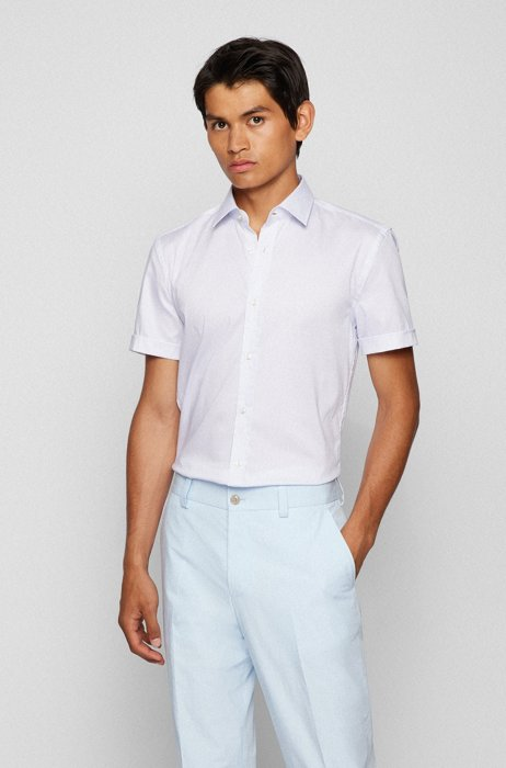 Slim-fit shirt in printed cotton with Cool Comfort finishing, Dark Blue