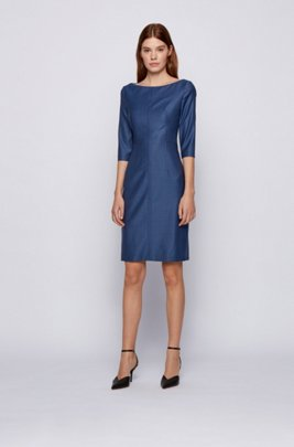 Slim-fit business dress in virgin-wool jacquard, Patterned