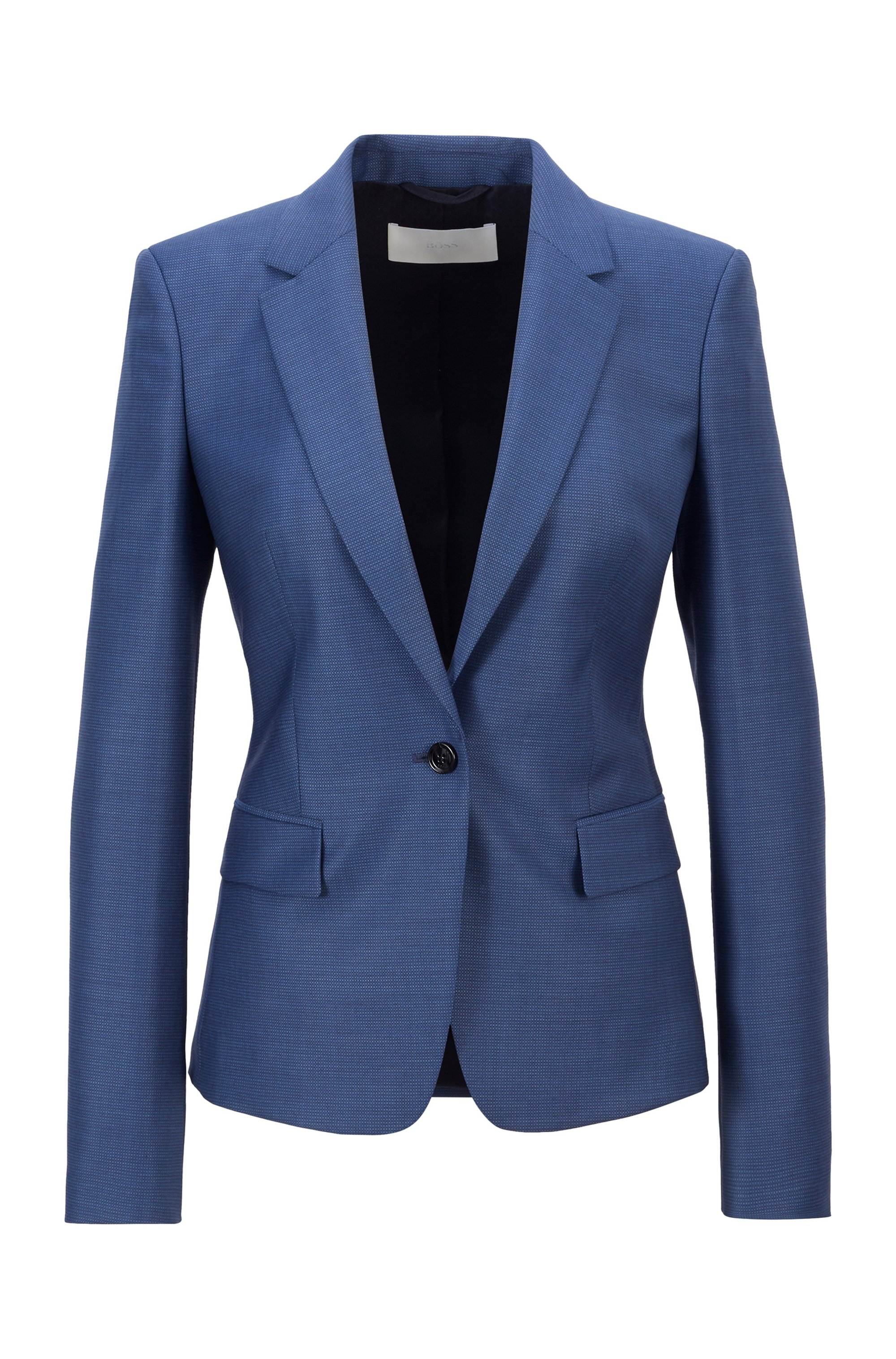 Regular-fit jacket in micro-patterned virgin wool, Patterned