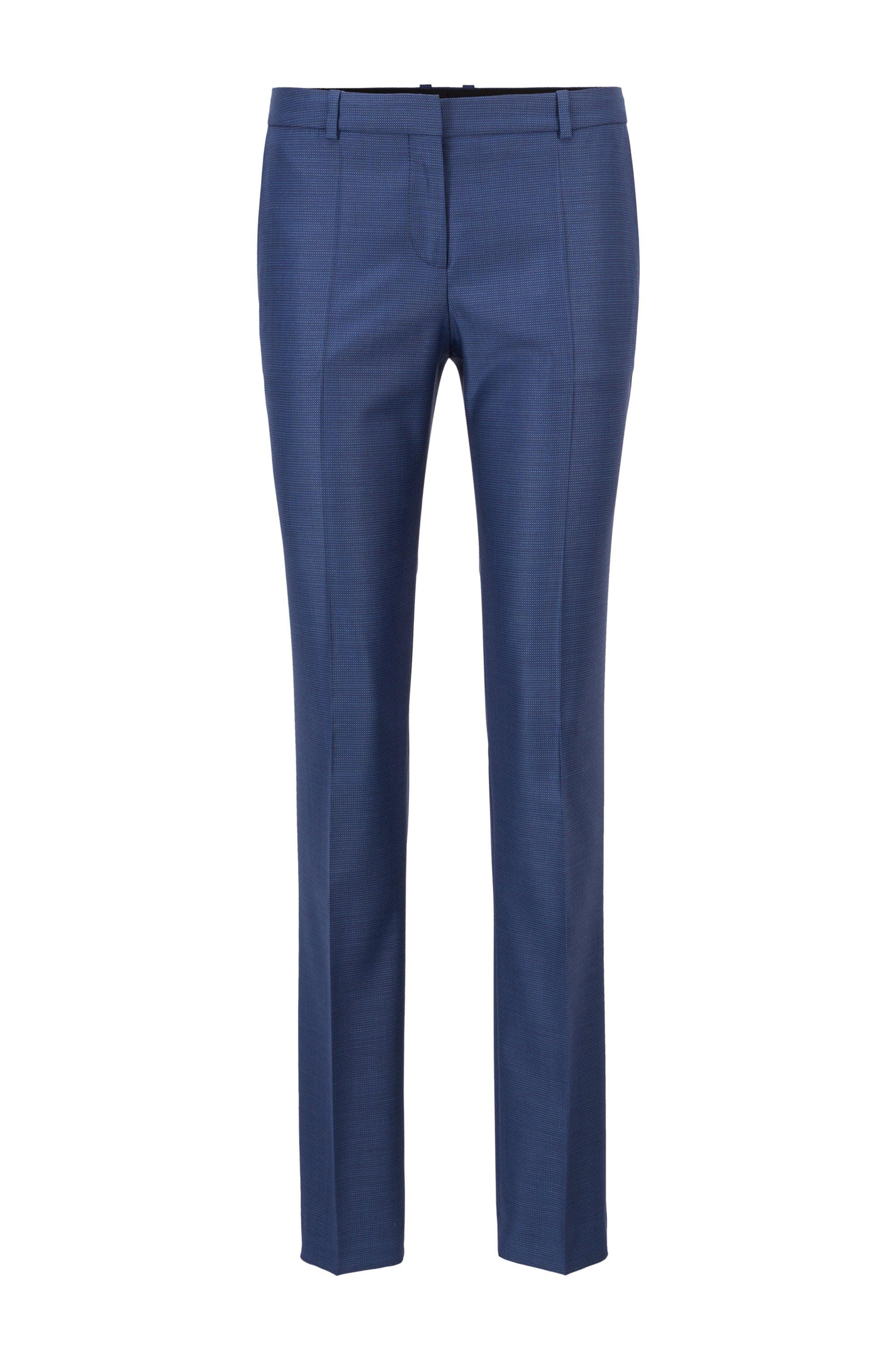 Regular-fit pants in micro-pattern virgin wool, Patterned