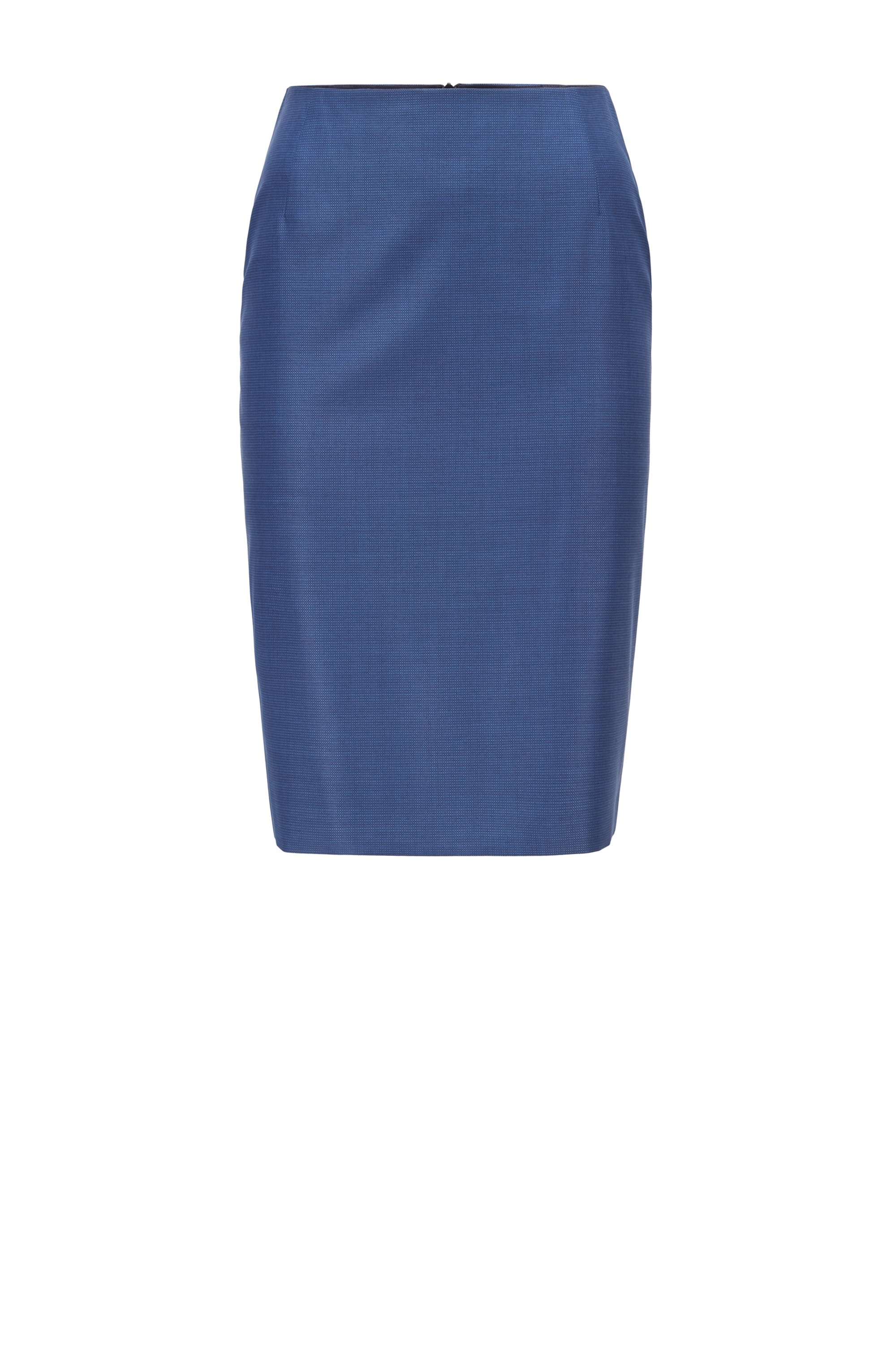 Pencil skirt in micro-patterned virgin wool, Patterned
