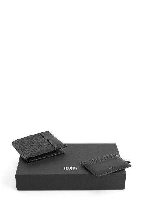 Gift-boxed billfold and card holder in embossed leather, Black