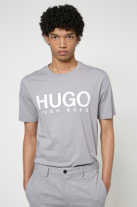 Logo-print crew-neck T-shirt in cotton jersey, Silver