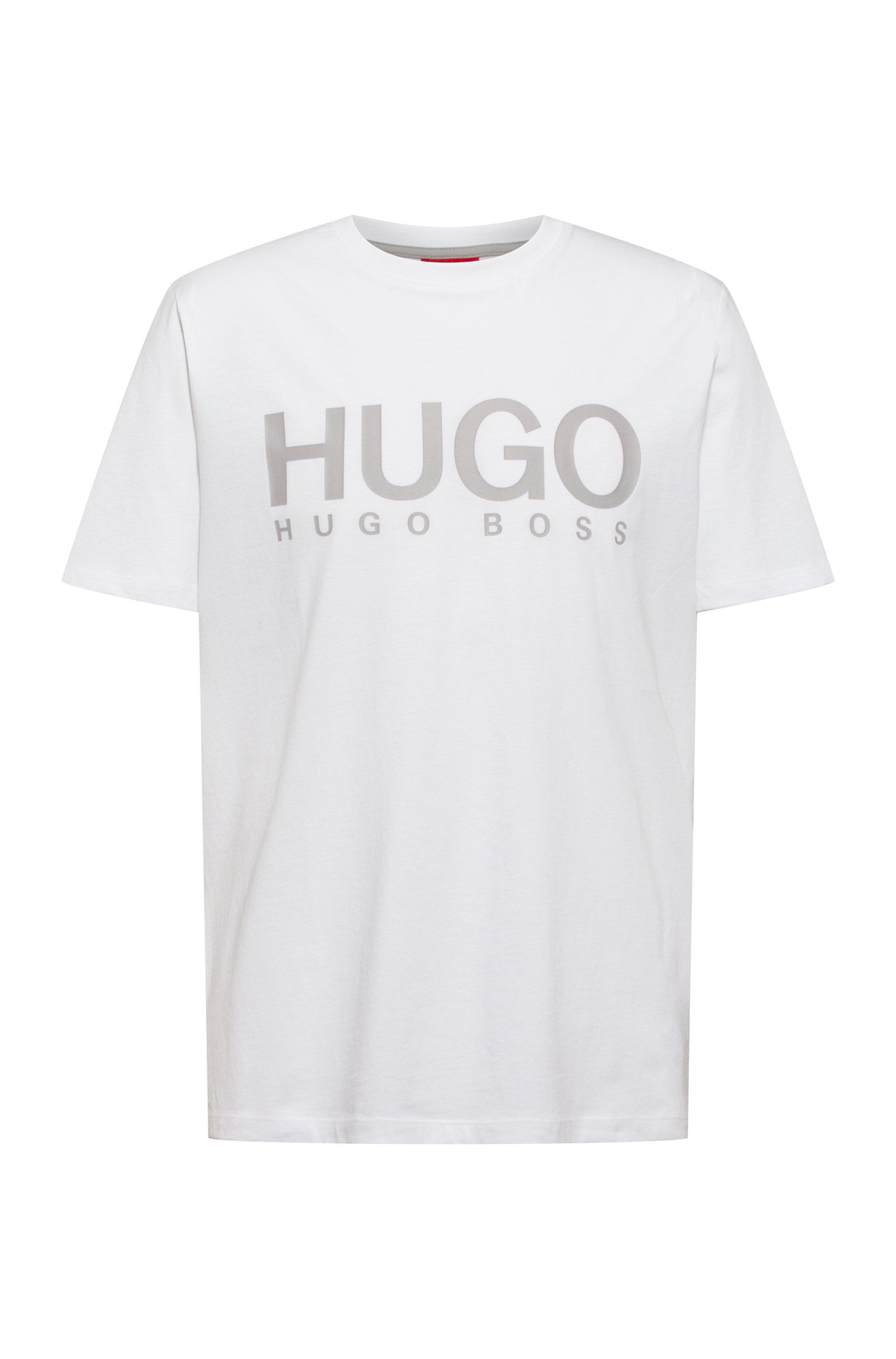 Logo-print crew-neck T-shirt in cotton jersey, White