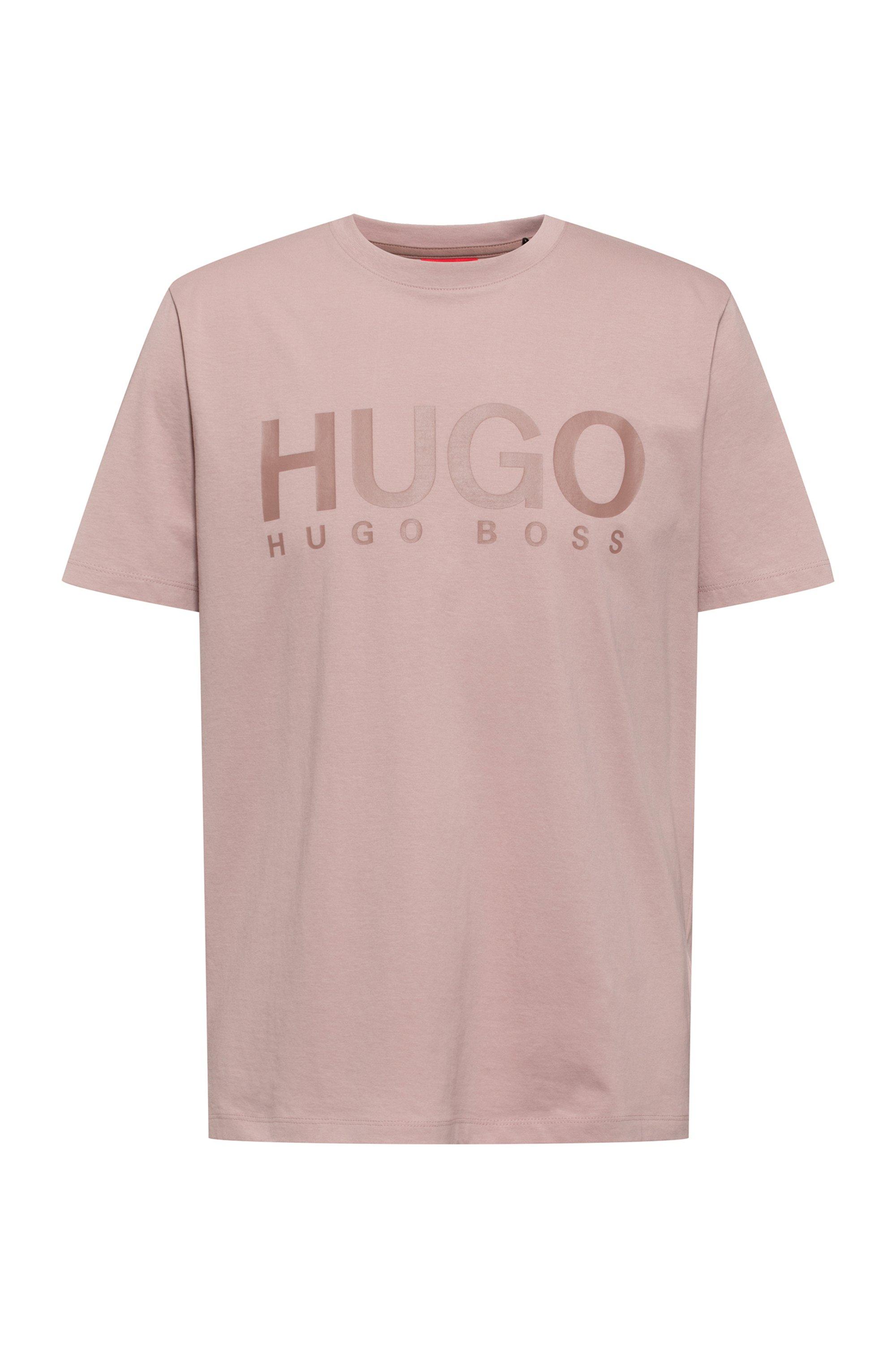 Logo-print crew-neck T-shirt in cotton jersey, Light Brown
