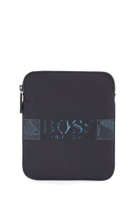 Botanical-print envelope bag in recycled nylon, Dark Blue