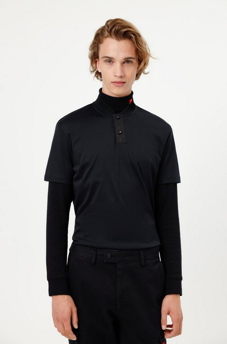 Cotton polo shirt with college collar, Black