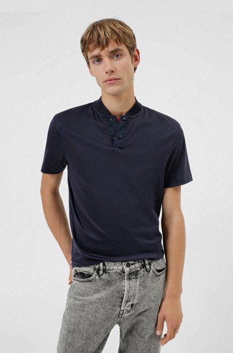 Cotton polo shirt with college collar, Dark Blue