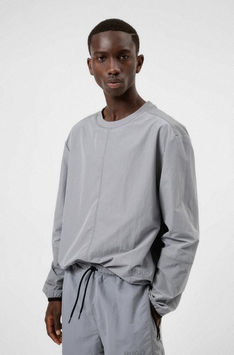 Relaxed-fit sweatshirt with reflective-effect logo, Silver